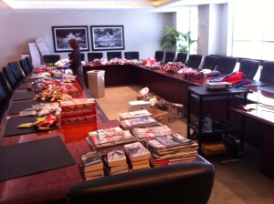 Goodies begin to stack up in the Rumberger conference room.