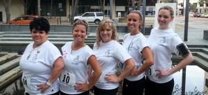 Inhaler Sailers Dori Camacho, Marie Anderson, Shelli Porter, Jessica Tetrick, and Kristen Niemi climbed 842 steps.